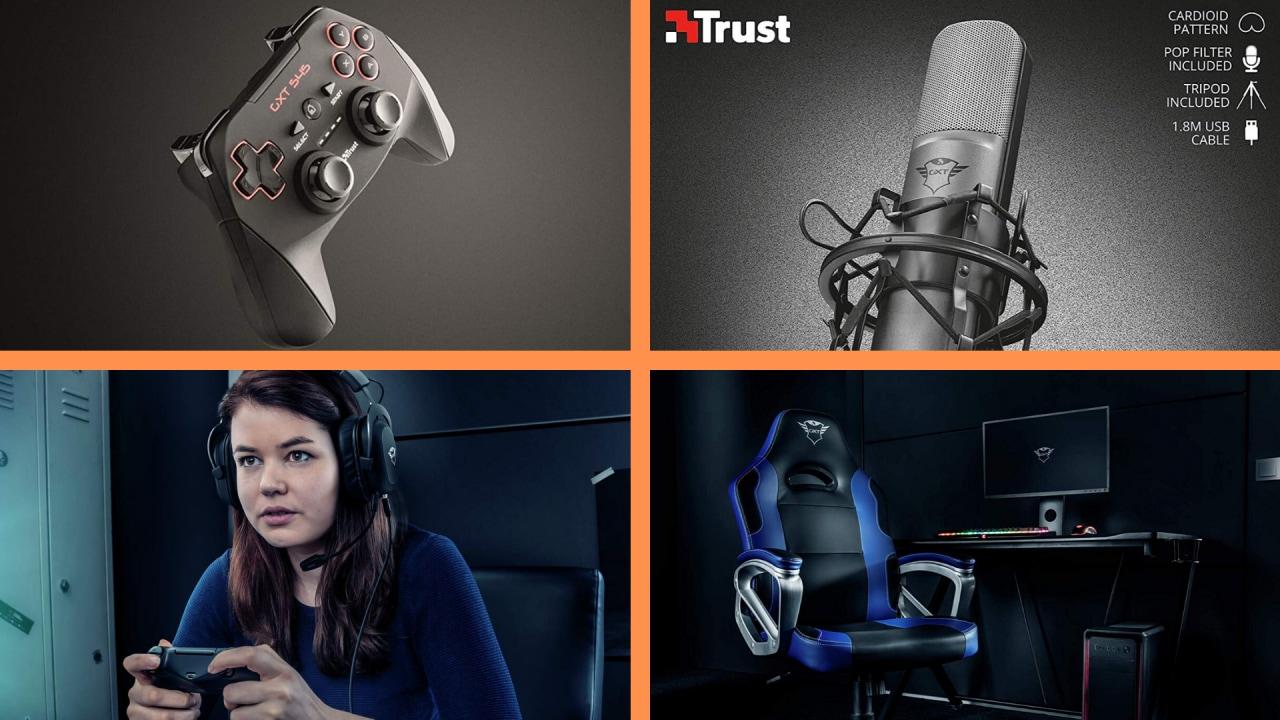 Date un po' di Trust alla vostra vita: in offerta cuffie, gamepad, microfono e sedia