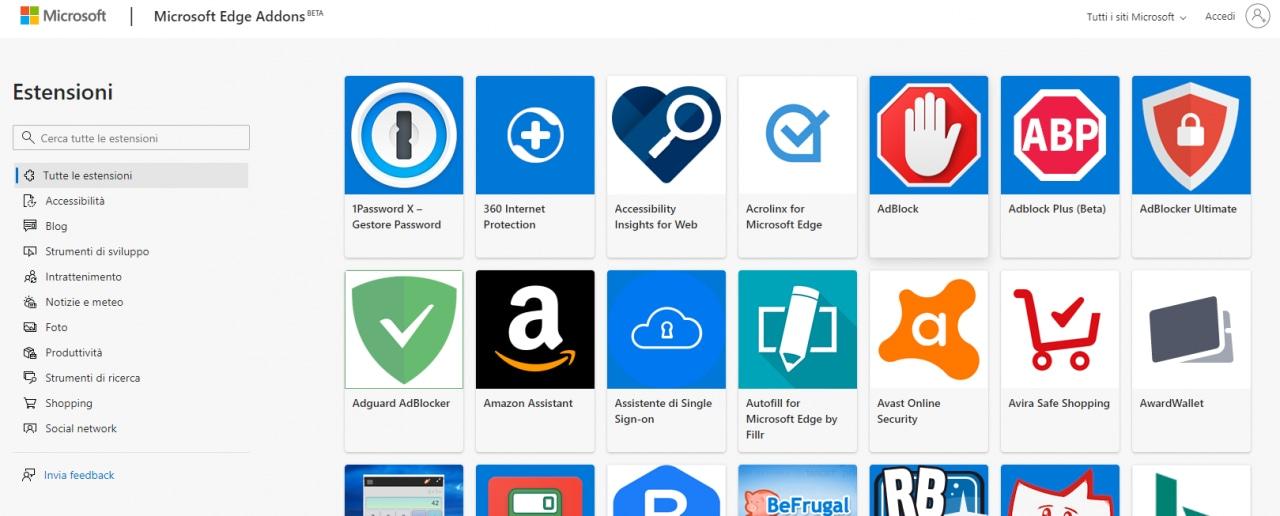 """Lo Store di Microsoft per il nuovo Edge perde la voce """"Insider"""" ma guadagna tante estensioni"""