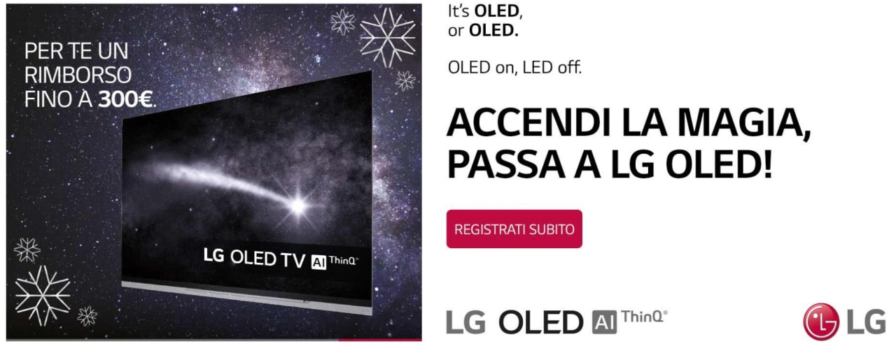 Rimborso fino a 300€ se passate a LG OLED prima che passi la befana