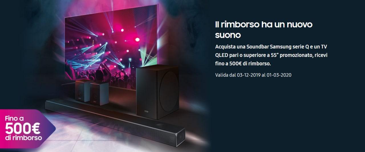 Voglia di soundbar? Samsung vi rimborsa fino a 500€ se ne abbinate una ad una TV QLED