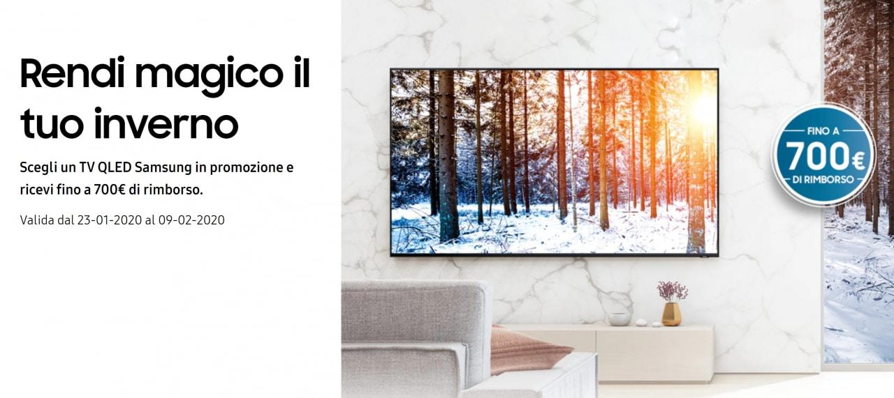 Samsung vi rimborsa fino a 700€ per l'acquisto di un TV QLED