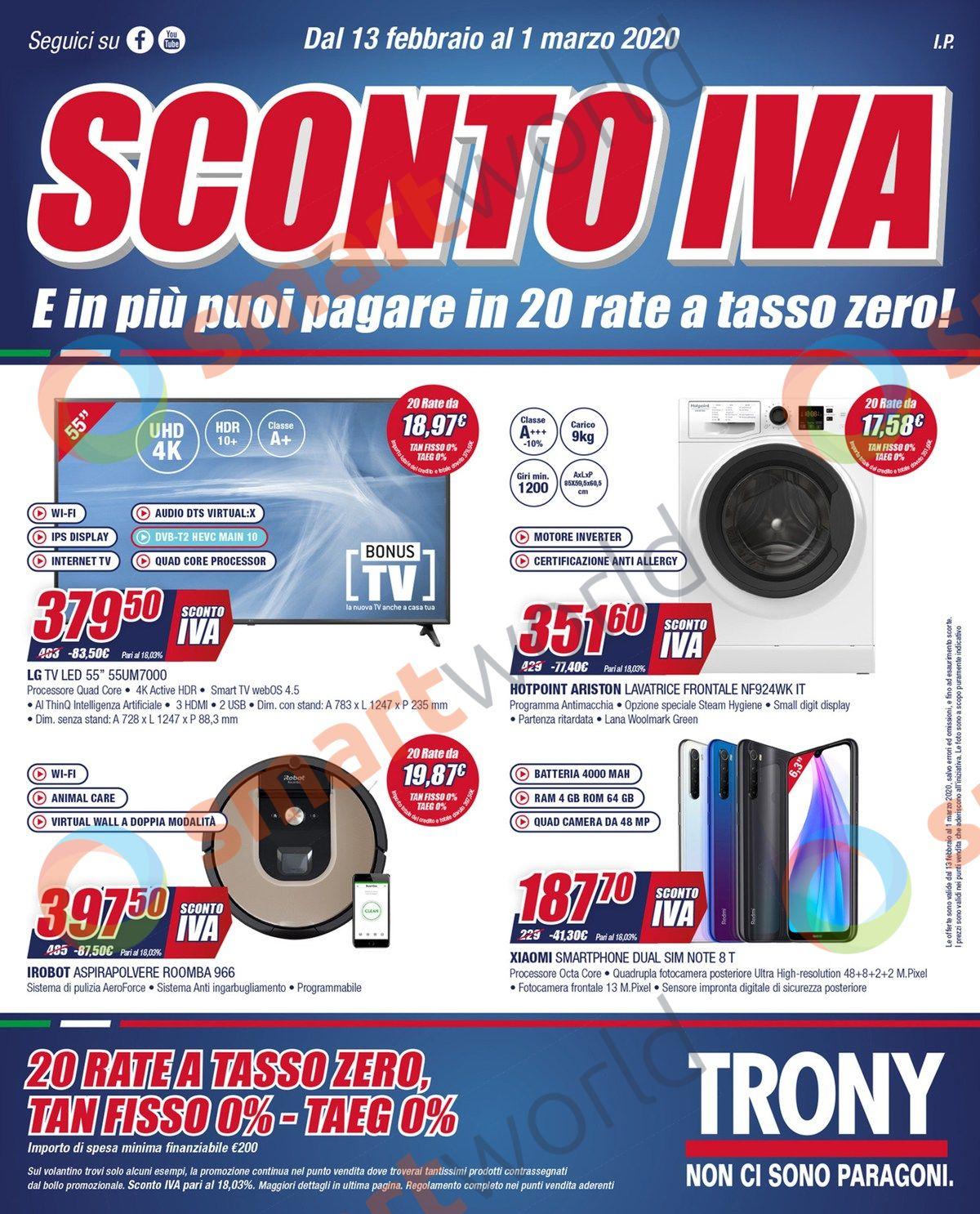"""Volantino Trony """"Sconto IVA"""" 13 febbraio – 1 marzo 2020 (1)"""