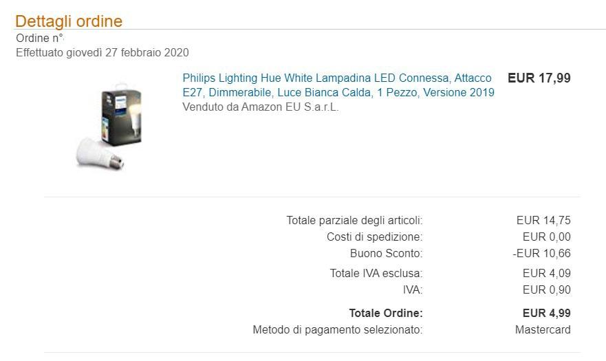 lampadina philips hue codice sconto amazon