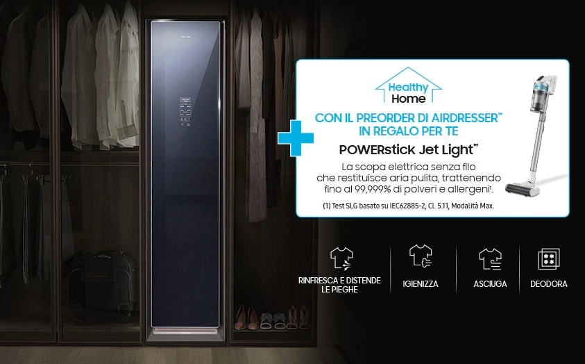 Promozione Samsung: se comprate l'AirDresser, c'è una scopa elettrica in omaggio