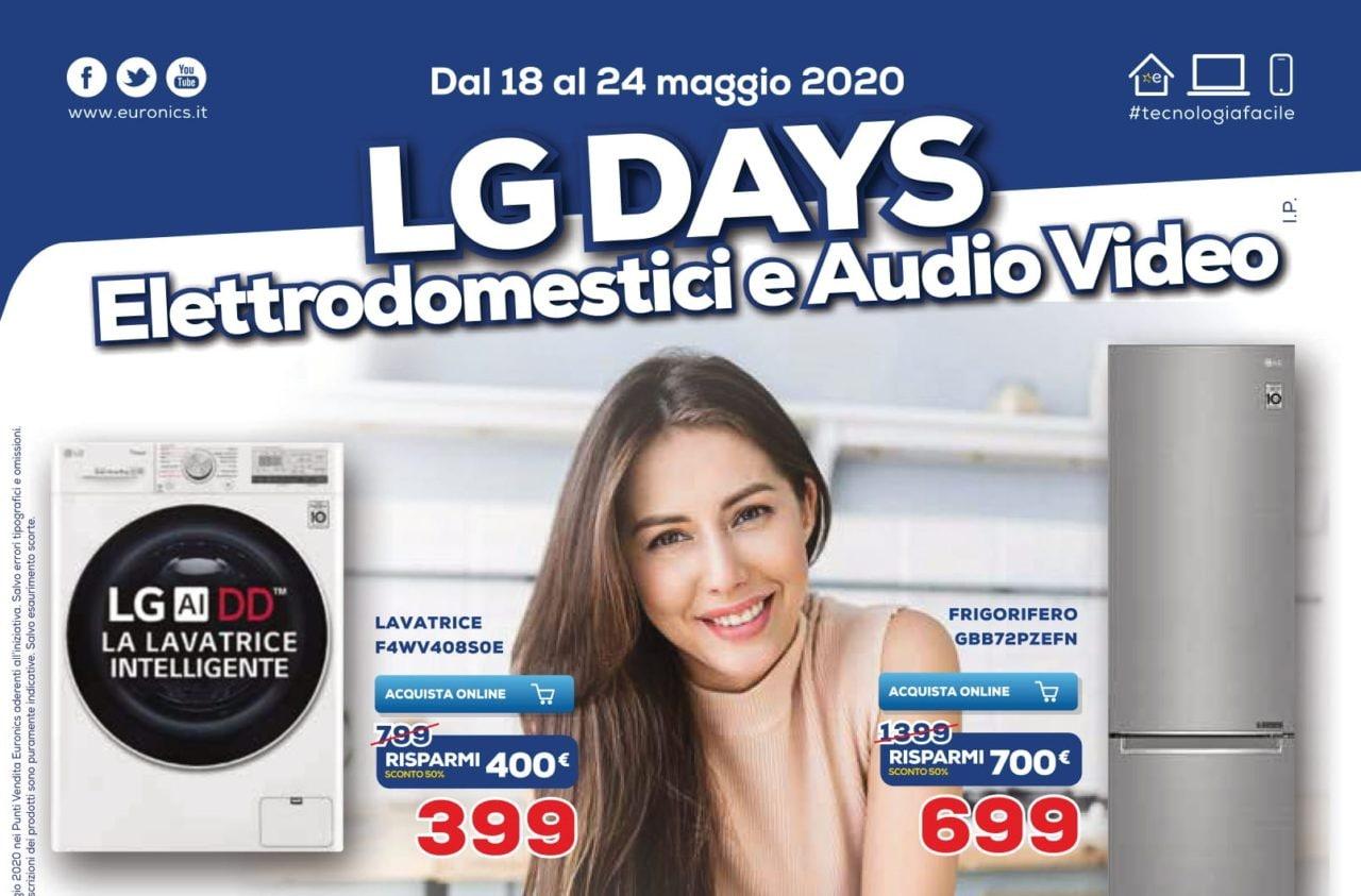 """Volantino Euronics """"LG Days"""" 18-24 maggio: super risparmi su Smart TV ed elettrodomestici"""