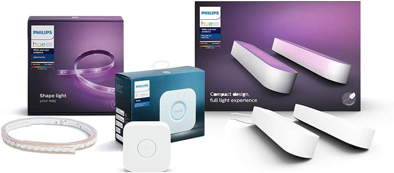 Offertona Philips Hue: 2 lampade, striscia LED e hub di controllo a 199€