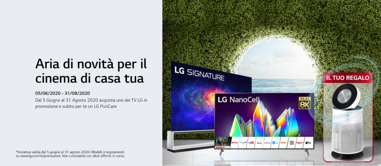 Promozione LG: acquistate uno di questi TV LG per ricevere LG PuriCare gratis