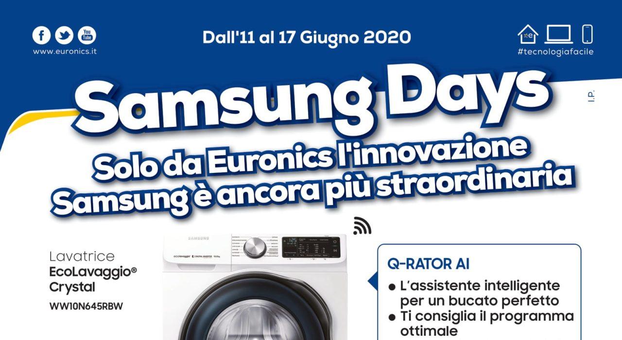 """Volantino Euronics """"Samsung Days"""" 11-17 giugno: sconti fino al 50% sulle lavatrici e non solo (Ultimi giorni)"""