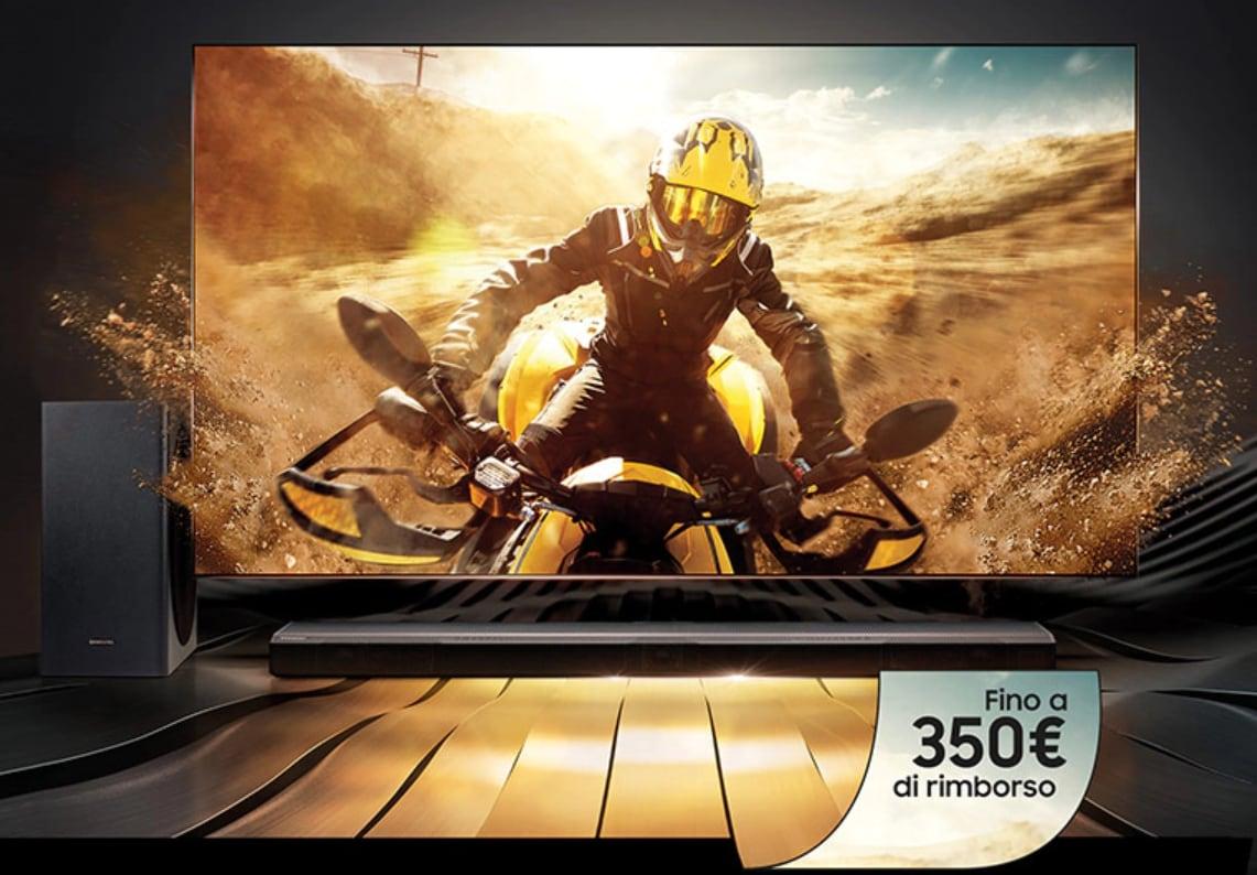 Samsung rimborsa fino a 350€ se acquistate insieme soundbar e QLED TV