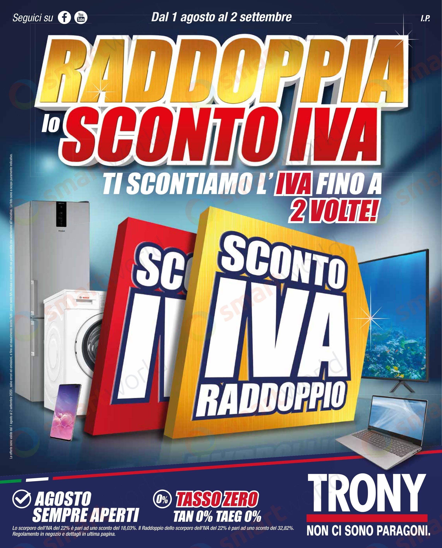 Volantino Trony Raddoppia lo Sconto IVA 1 ago – 2 set (1)