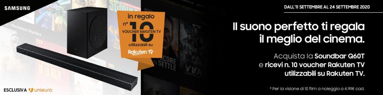 Voucher Rakuten TV in regalo per chi compra una Soundbar Samsung