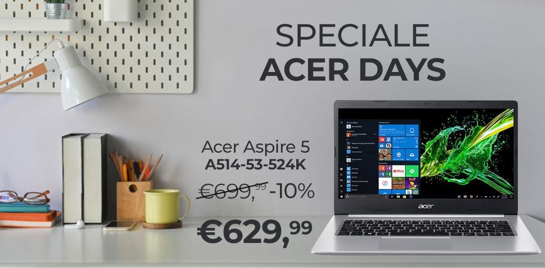 """Offerte Unieuro """"Speciale Acer Days"""": sconti su notebook e accessori fino al 28%"""
