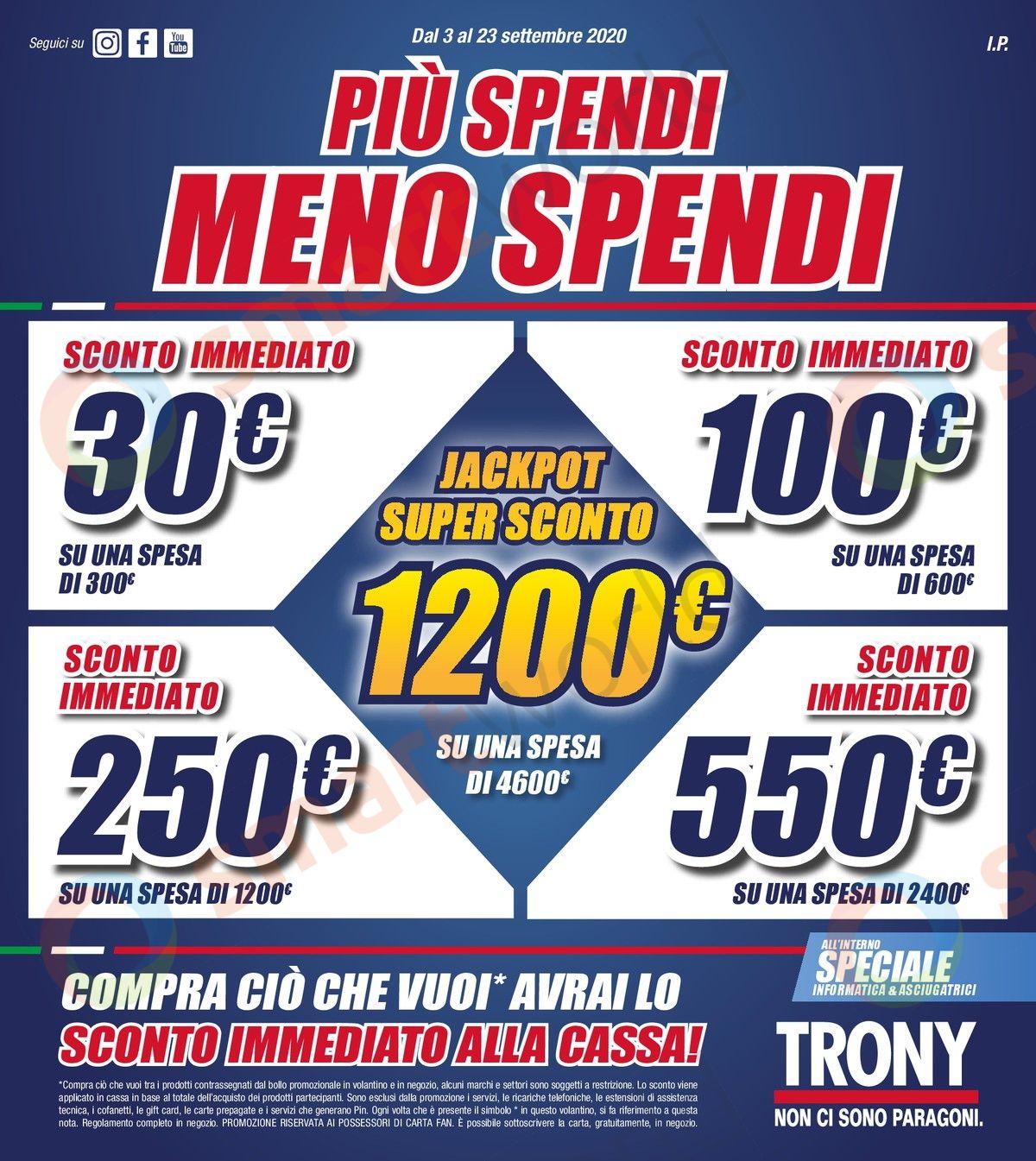 Volantino Trony Più spendi, meno spendi 3-23 settembre (1)