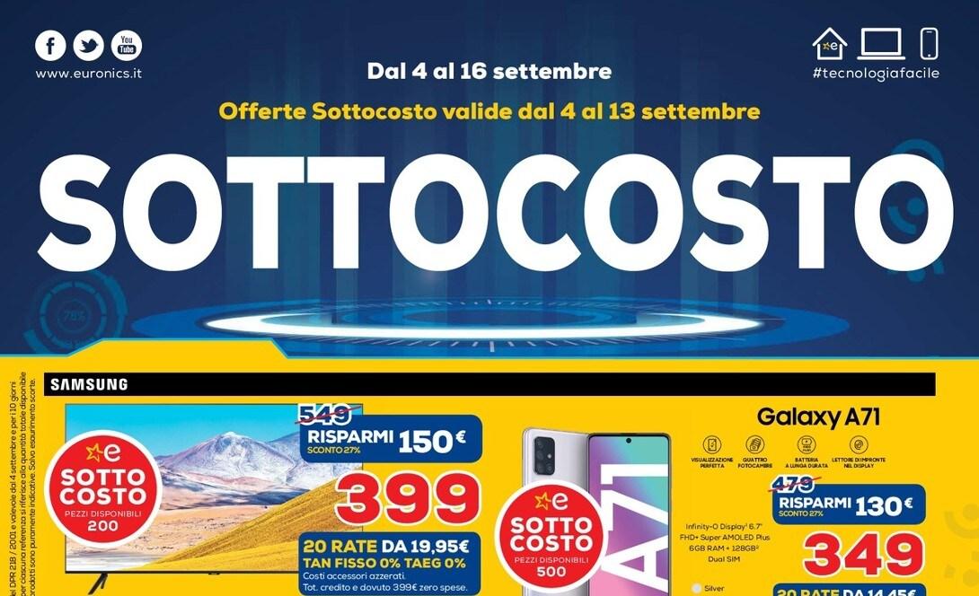 """Volantino Euronics """"SOTTOCOSTO"""" 4-16 settembre: ben 7 ..."""