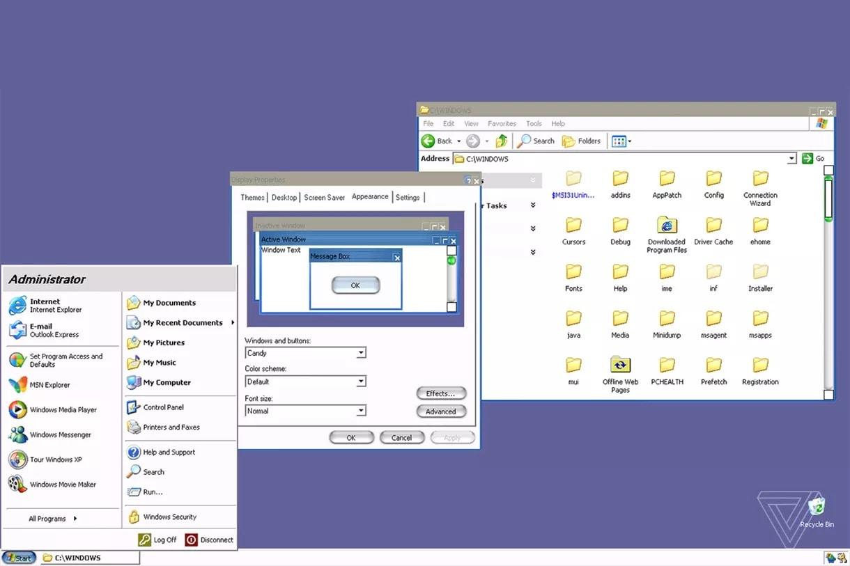 windows xp in stile mac