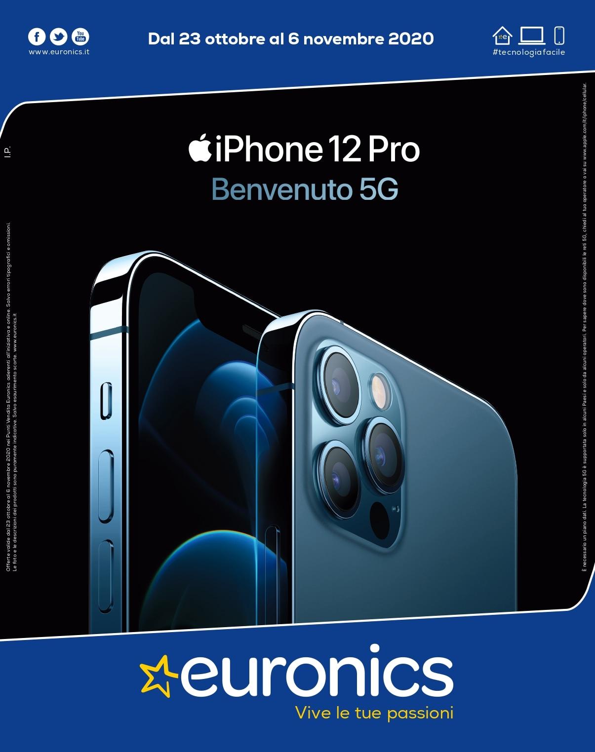 """Volantino Euronics """"Speciale Apple"""" 23 ott - 6 nov: acquisto a rate per gli iPhone 12 e vantaggiosi prezzi su altri dispositivi (foto)"""