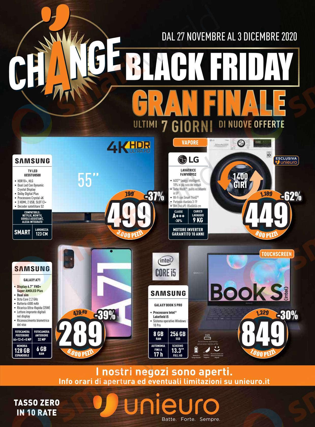 Volantino Unieuro BLACK FRIDAY Gran Finale 27 nov – 30 dic 2020 (1)