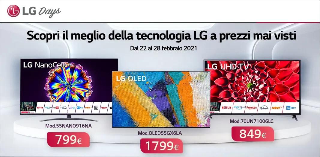 """Offerte Unieuro """"LG DAYS"""" 22-28 febbraio: Smart TV e Soundbar in sconto fino al 46%"""