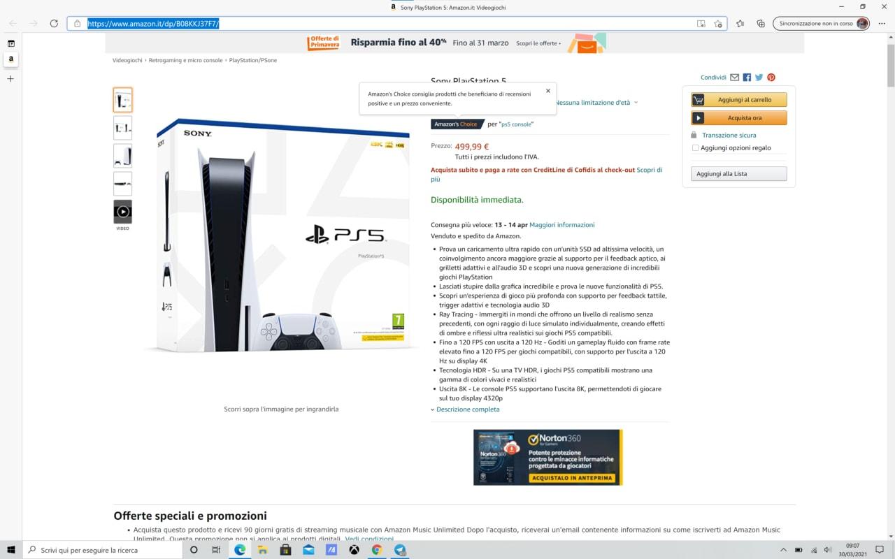 PlayStation 5 disponibile su Amazon: correte finché dura!
