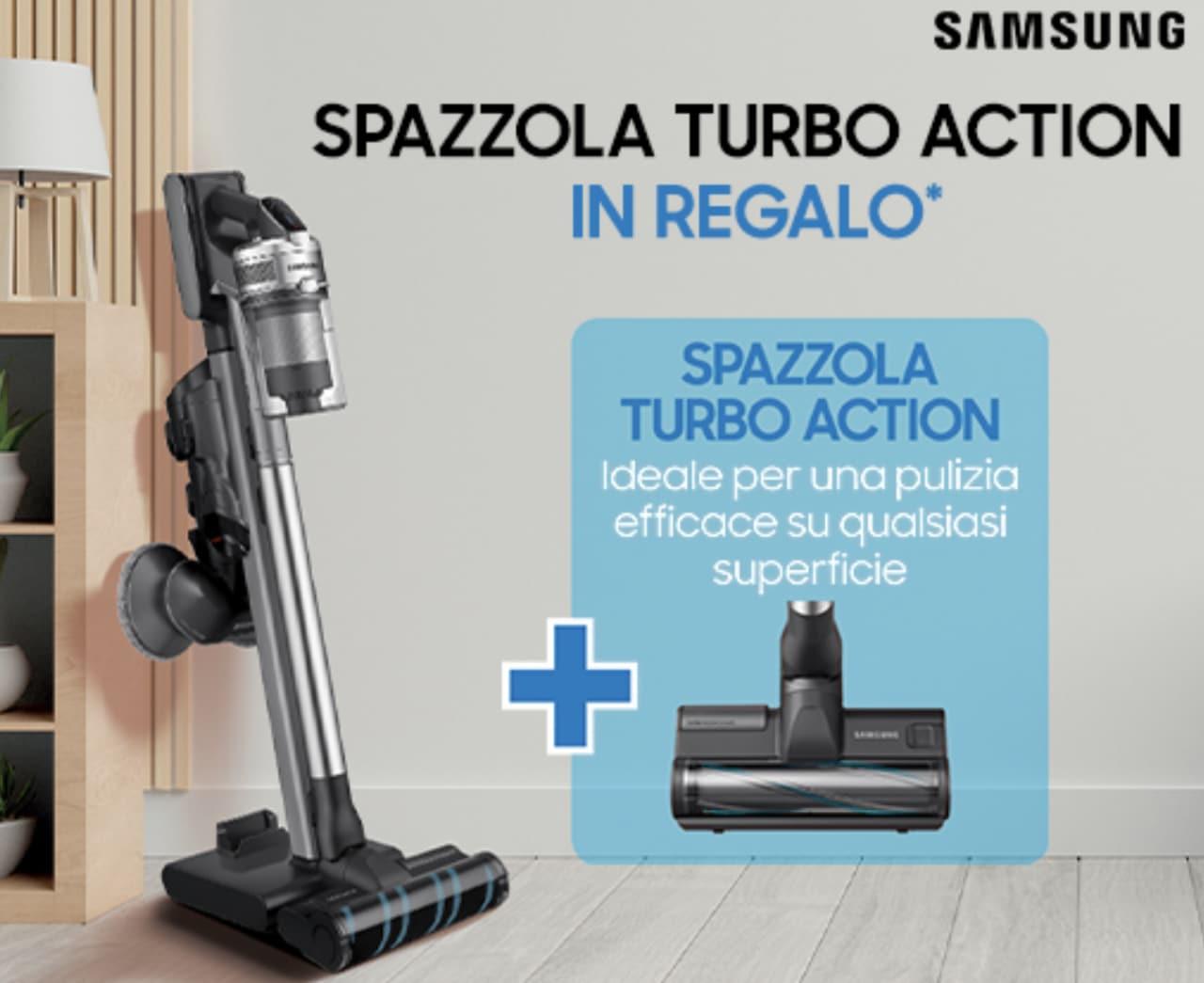 Samsung regala con l'acquisto di una scopa elettrica Jet un'utile spazzola, a scelta tra due!