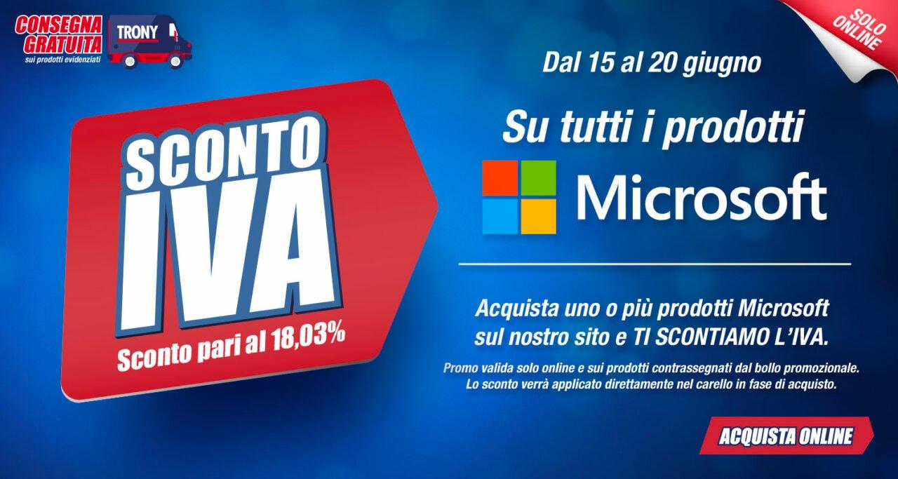 Trony sconta l'IVA sui prodotti Microsoft, anche alcuni Surface, ma solo online