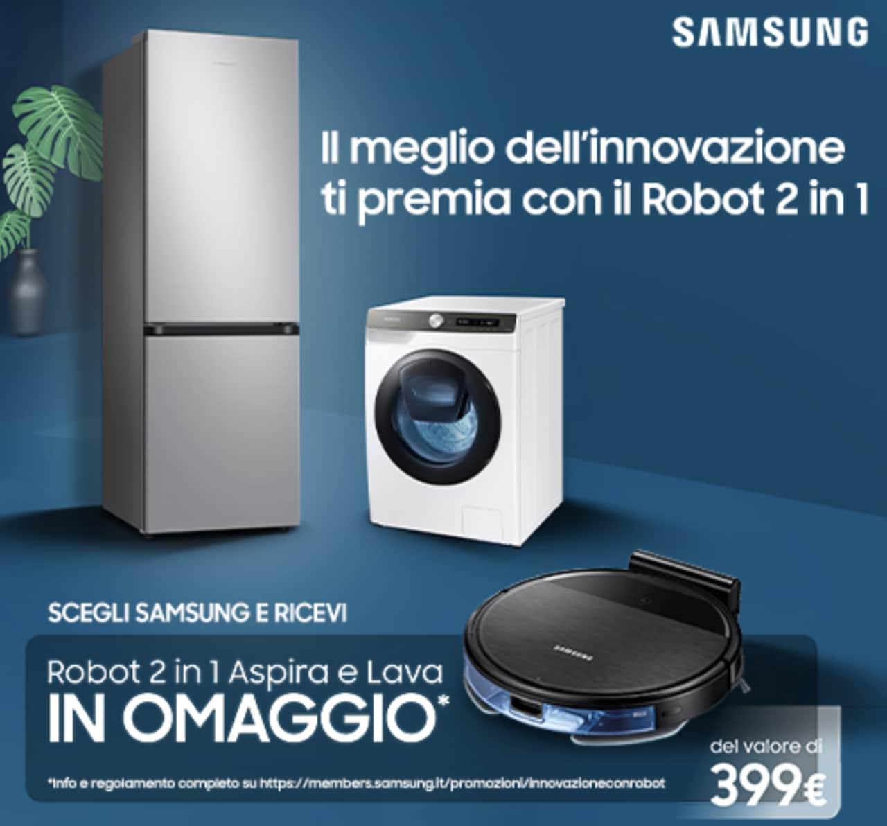 Promo Samsung: scegliendo un suo elettrodomestico si riceve in omaggio il Robot 2-in-1