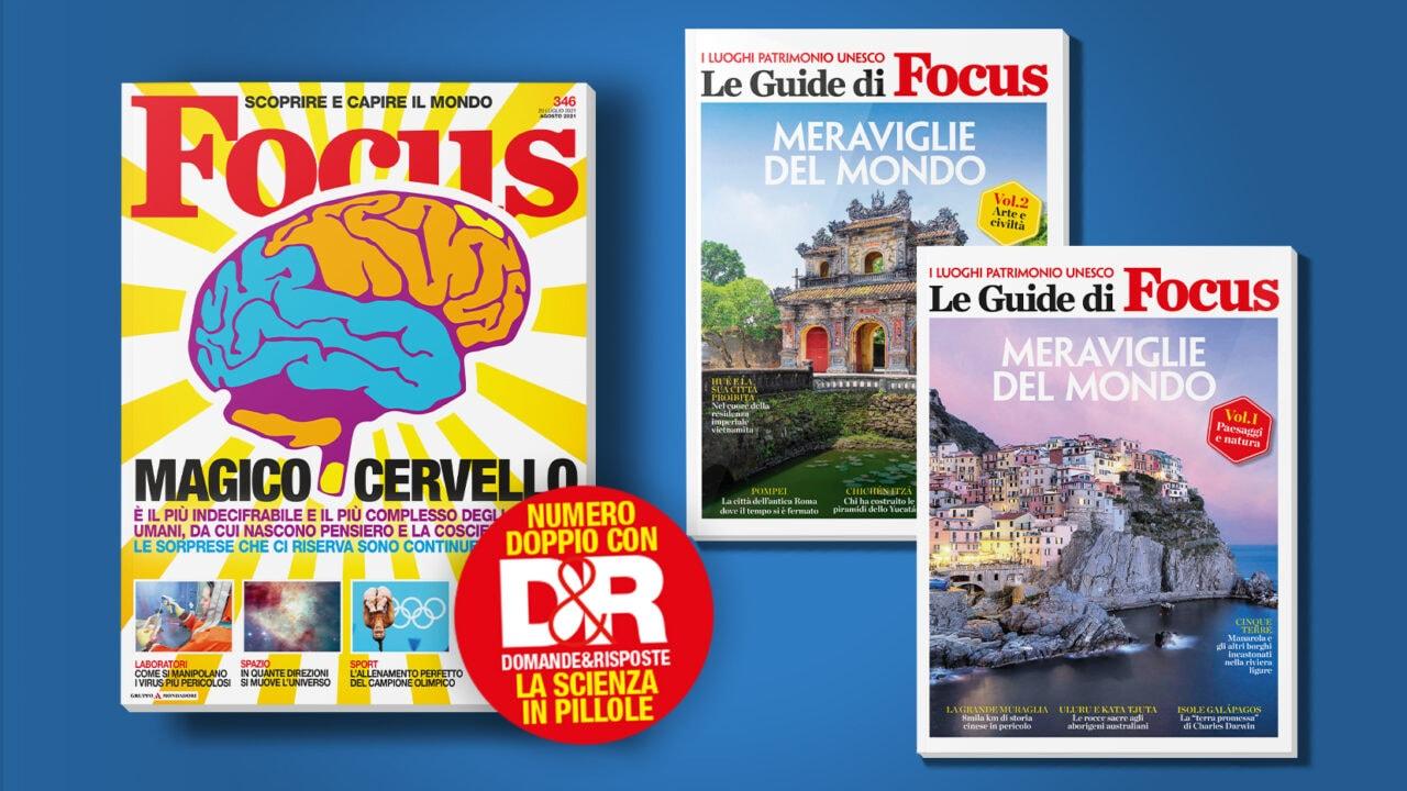 Che estate sarebbe senza Focus sotto l'ombrellone: 2 numeri doppi e 2 volumi sulle meraviglie del mondo