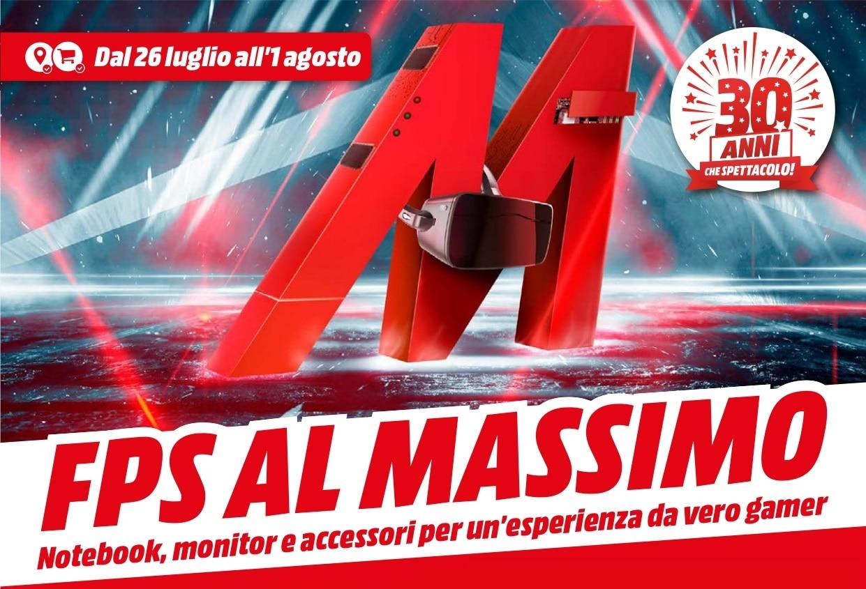 """Volantino MediaWorld """"FPS al Massimo"""" 26 lug – 1 ago: sconti per gamer (foto)"""