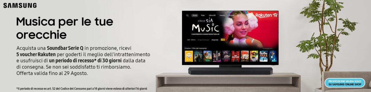 Nuova promozione Samsung sulle Soundbar Serie Q: in regalo voucher Rakuten