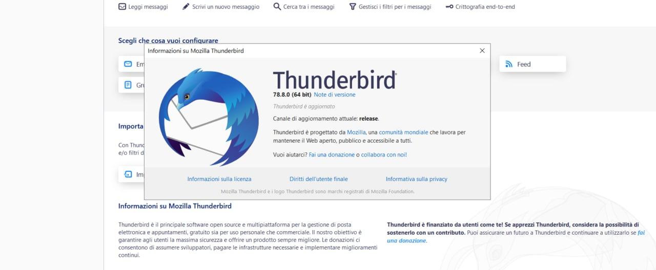 Thunderbird, come risolvere l'errore invio messaggi tramite Smtp con il nuovo aggiornamento